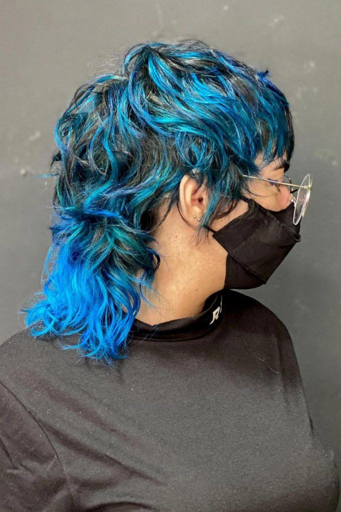 Shaggy Blue Mullet with Waves