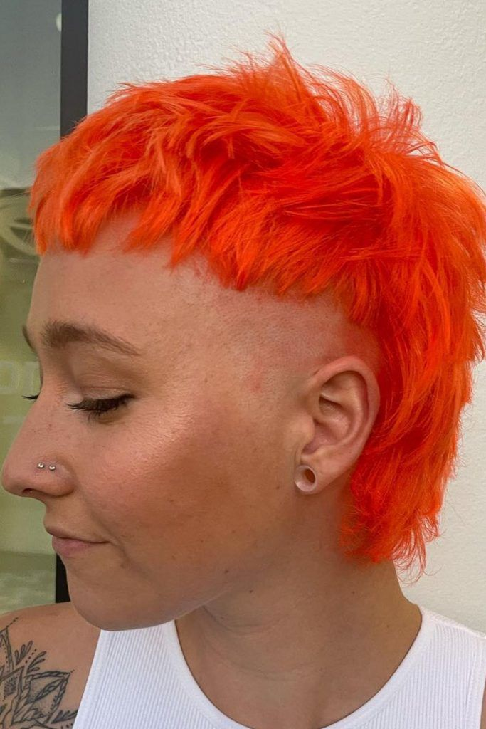 Bright Orange Mullet with Shaved Sides