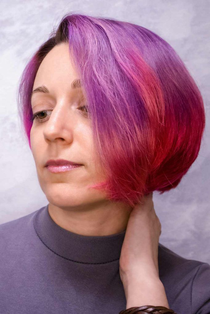 Stylish Bob With Color Mix Short Hairstyles For Women Over 50