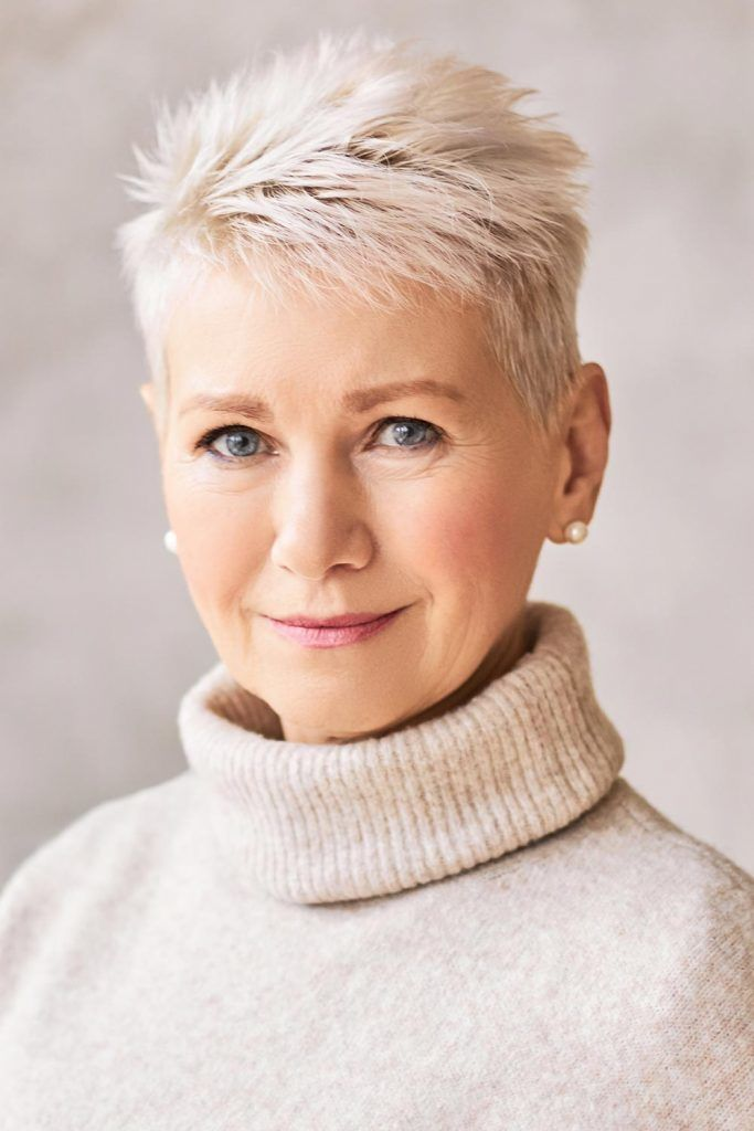 Platinum Punky Pixie Short Hairstyles For Women Over 50