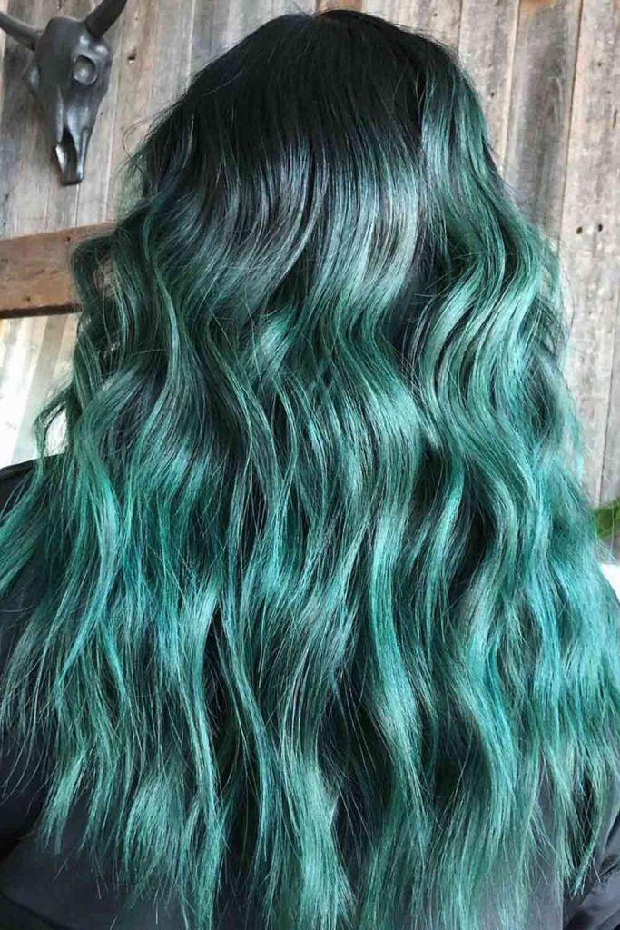 Brunette To Light Green Ombre