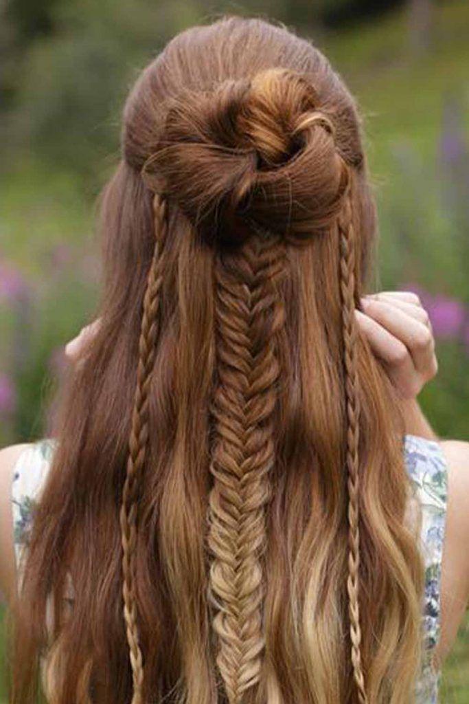 Charming Dutch Fishtail Bun Hairstyle
